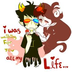 Homestuck valentine's. sollux and dead aradia : I was waiting for you all my life