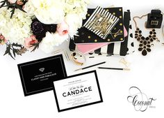 Chanel Inspired Bridal Shower Invitations // Black and White, Chanel Shower // Invitations & Design by Coconut Press Boutique Design, A Boutique, Personalized Stationery, Classy And Fabulous, Bridal Shower Invitations, Invitation Design, Wedding Events, Cool Things To Buy, Identity