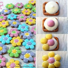 These Spring Flower Pretzel Bites are sweet, salty, crunchy and delicious - an easy and fun treat for Easter, Spring and Mother's Day. Flower Cookies, Easter Cookies, Easter Treats, Christmas Cookies, Easter Snacks, Cookie Bouquet, Summer Cookies, Easter Desserts, Baby Cookies