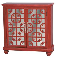 Red fret work over mirror doors chinoiserie inspired chest/cabinet Accentrics Home by Pulaski | The Decorating Diva, LLC