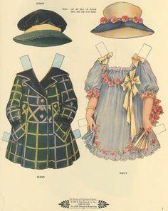 Muñecas para recortar: Muñecas de papel antiguas con vestidos -1920
