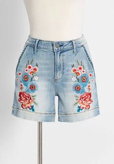 New Arrival Dresses and Clothing for Women | ModCloth Retro Outfits, Short Outfits, Cool Outfits, Summer Outfits, Flower Shorts, Embroidered Shorts, New Arrival Dress, Everyday Outfits, Swagg