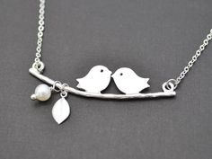 Personalized, A kissing birds on branch silver necklace - Initial Necklace,Name necklace, Monogram Necklace, Wedding Gift, tmj00263 by TheMichelleJewelry on Etsy https://www.etsy.com/ca/listing/80338732/personalized-a-kissing-birds-on-branch