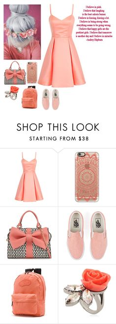 """""""Monochromatic Coral 🌸"""" by kirkland2001 ❤ liked on Polyvore featuring Casetify, Betsey Johnson, Vans, Mawi and Love Quotes Scarves"""