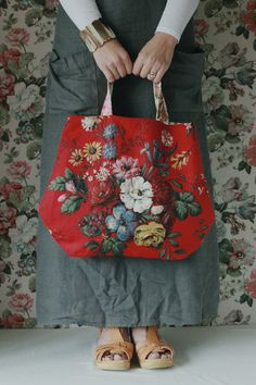 Meet Lara..she is a rather pretty handy-bag made from a rare vintage floral Sanderson print. She likes to be taken out for a shopping spree and she likes to think she is not only a bag but a rather pretty accessory to your daily wear. When not in use she likes to be hung on a wall so all can share in her beauty.She is approx 48cm wide.PLEASE NOTE: the images show her as a slightly brighter red than she actually is - she is more Chanel than TomatoLara will arrive wrappe... Clothing, Sho...