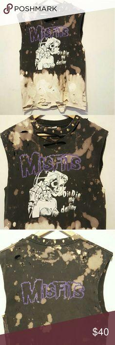Die die my darling t shirt Hand made Misfits tank top. Die die my darling!!! One of a kind bleach washed, distressed with skull studs along collar. Men's size M. Unisex. 90s punk/grunge vibes #grunge#diy#diediemydarling#themisfits#punk Shirts Tees - Short Sleeve