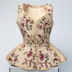 Waistcoat, ca. first half of the 18th century Linen and silk with polychrome embroidery English 1995.c.15