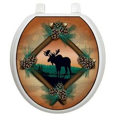 Toilet Tattoos Themes Toilet Seat Applique with Moose at Sunset Design