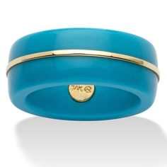 Instantly transform your everyday style into outstanding! This vibrant Viennese turquoise band adds just the right touch of fashion intrigue. 14k gold trim around the center. Sizes 6-10. Viennese turquoise - Turquoise imitations with good color. The jewelry shown is not made by Native American Craftsmen. - Round Viennese Turquoise 14k Yellow Gold Ring Band at PalmBeach Jewelry & Save 25%