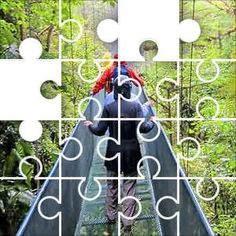 Bridge over Forest Jigsaw Puzzle, 67 Piece Classic. People walking on a suspension bridge over a rain forest in Casta