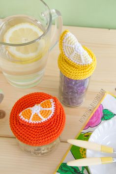 Crochet slice of lemon and orange - Spicchi di arancia e limone a uncinetto per decorare barattoli di vetro - besenseless.blogspot.com