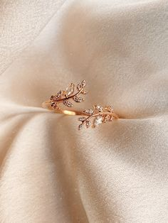 Victoria Stone Encrusted Leaf Ring Product Details + Care – Gold Plated Over Brass – Brass: Copper + Zinc Alloy – Wipe Clean – Imported Dimensions – A… - Sites Morganite Engagement, Engagement Ring Settings, Vintage Engagement Rings, Leaf Engagement Ring, Cute Jewelry, Gold Jewelry, Jewelry Accessories, Gold Bracelets, Diamond Earrings