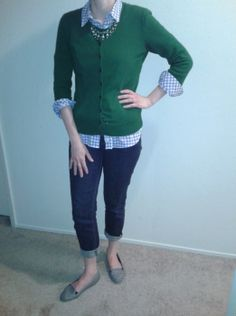 S19May13--He asked, I said yes! Green 3/4 sleeve cardi (Talbots) over light blue gingham shirt (Gap) over dark ankle denim (Talbots) with silver and green necklace (Ann), NEW ENGAGEMENT RING, and blue and white stripe loafers (F21).