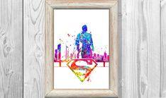 Aquarelle de Superman affiche imprimer super-héros par MarinaIdea