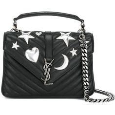 Saint Laurent Medium \'Monogram Collège\' Satchel Bag (47,595 MXN) ❤ liked on Polyvore featuring bags, handbags, monogram envelope clutch, heart purse, monogrammed handbags, envelope clutch and metallic purse