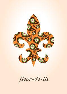 Paisley Fleur de Lis Art Print   Orange   $12.50