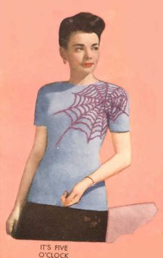 "Sweater Pattern from ""Newlands' - Original Designs by Kerry Kane"" Vol 7, Book 12, 1948   ...does whatever a spider can.  Which in 1948 mean..."