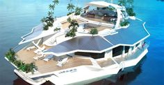 It's a yacht. No, it's an island. No, it's a yacht. Laying Decking, Floating House, Floating Island, Surface Habitable, New Fantasy, Diy Deck, Yacht Design, Boat Design, Building A Deck