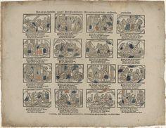 Erven Weduwe Gijsbert de Groot | Hier ziet gy afgebeeldt / ô jeugt! heldt Paulus leeven; Die u een voorbeeldt strekt / om hemelwaardts te streeven, Erven Weduwe Gijsbert de Groot, Anonymous, 1725 - 1738 | Blad met 16 voorstellingen uit het leven van de heilige Paulus. Onder elke afbeelding een vierregelig vers.