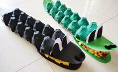 crocodile from egg carton Jungle Activities, Jungle Crafts, Activities For Kids, Toddler Crafts, Preschool Crafts, Kids Crafts, Crocodile Craft, Egg Carton Crafts, Craft Projects For Kids