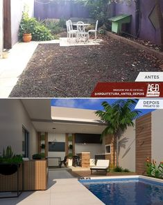 Olha que legal essa proposta para área externa integrada com área lazer. Small Backyard Pools, Backyard Patio Designs, Swimming Pools Backyard, Backyard Landscaping, Best Exterior Paint, Exterior Paint Colors For House, Diy Exterior, Small Pool Design, House Paint Color Combination