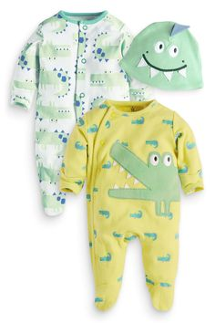 Buy Two Pack Croc Sleepsuits And Hat (0mths-2yrs) from the Next UK online shop