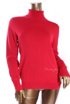 CHARTER CLUB New Womens Red Polo Turtle Neck Long Sleeve Sweater Size M #KarenScott #TurtleneckMock