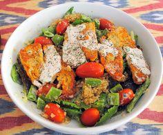 Halloumi, Snap Pea, Tomato & Quinoa Salad #glutenfree