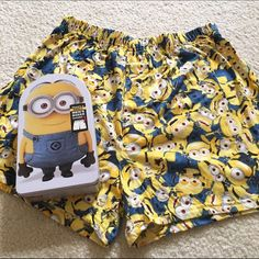 NWT Minion Boxers Size small but can be stretched to fit as a medium. Boxers but can be worn as shorts to bed! Purchase includes tin case.   From a pet and smoke free household. No trades PRICE IS FIRM  All profits from this closet will help me pay for medical school. Thanks :) Intimates & Sleepwear