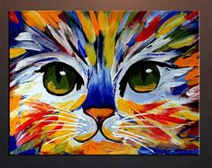 Items similar to Colorful Kitty Abstract Cat Print from my Original Oil Painting on Archival Professional Paper, Cat Art on Etsy Acrylic Painting Canvas, Canvas Art, Canvas Paintings, Canvas Ideas, Acrylic Painting Animals, Painting Flowers, Painting Abstract, Tree Paintings, Kids Canvas