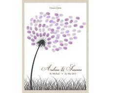 """Zur Erinnerung an euren schönsten Tag ist unsere Pusteblume eine wunderbare Alternative zum klassischen Gästebuch.  Eure Gäste """"stempeln"""" je 1-2 Fingerabdrücke an die Blume um sich zu verewigen...."""
