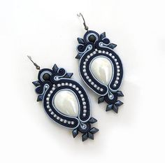 Big Navy blue white earrings Soutache gift for women Bijoux Jewel Statement large earrings sparkling earrings