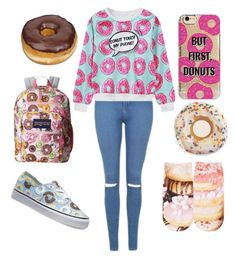 """Donuts"" by alicia-brockett ❤ liked on Polyvore featuring Topshop, Vans, Agent 18, Free Press, JanSport and WithChic"