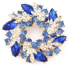 JSDY Womens Girls Ladies Candy Color Bohemia Crystal Drop Flowers Garland Pin Brooch Blue -- Check this awesome product by going to the link at the image.