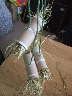 The incredibly versatile TP tube filled with hay & string.