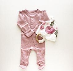Onesie Mauve L'ovedbaby™ Organic Gloved-Sleeve by finnandolive