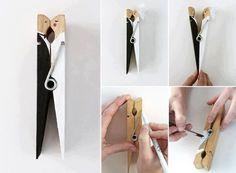 www.weddbook.com everything about wedding ♥ DIY Bride and Groom Clothespin #wedding #DIY #craft #bride #groom