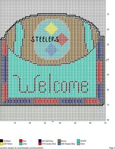 Steelers welcome Plastic Canvas Crafts, Plastic Canvas Patterns, Football Crafts, Canvas Designs, Crochet Chart, Cross Stitch Patterns, Needlepoint Patterns, Perler Patterns, Embroidery Art