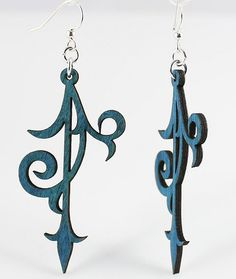 MADE IN USA Delicate scroll work ending with an arrowhead    Size: 2.2 x 1.2    These scroll ornament earrings are laser cut and made from a