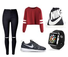 Untitled #22 by silverstars101 on Polyvore featuring NIKE and Apple