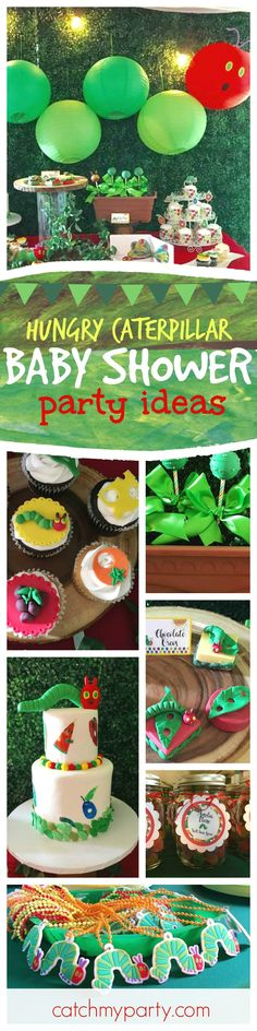 Don't miss this fantastic Hungry Caterpillar inspired Baby Shower. The cake &cupcakes are adorable!! See more party ideas and share yours at CatchMyParty.com