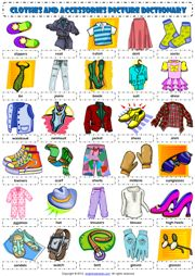 Clothes and Accessories Picture Dictionary ESL Worksheet
