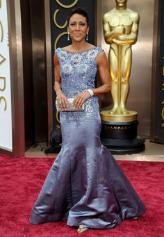 Robin Roberts' elaborate lavender gown flared into a flowing skirt that made the TV host appear to be floating down the red carpet.