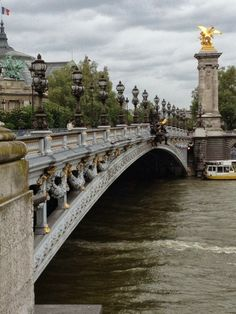 Alexander Bridge Paris France. Bridge, architechture, bro, water, cloudy sky, city view, stunning, statue, photograph, photo.
