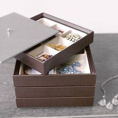 Howards Storage World | Jewellery Organiser - Stackable Tray - 3 Compartment