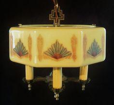 Art Deco Octagonal Donut Custard Glass Chandelier Ceiling Light Fixture