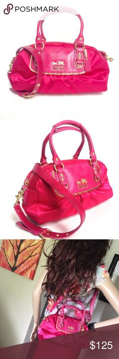 Coach Amanda Satin Mini Satchel Bag Beautiful like-new condition. Lovely Fuchsia color. Perfect for spring. Coach Bags Satchels