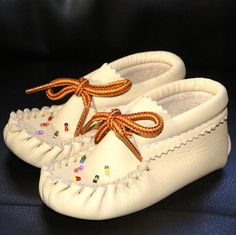 Tan Colored Soft Sole Genuine Leather Baby Moccasins with Beading - 133-7