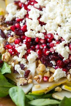 Pear, Pomegranate and Spinach Salad: I have made this with kale and apples also and it's really tasty!