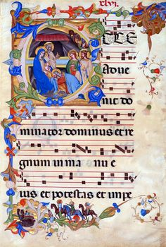 Adoration of the Magi, in an initial E | Leaf from a Gradual (I), in Latin. | Illuminated by an assistant of Don Silvestro dei Gherarducci for Paolo Venier, abbot of San Michele à Murano | Italy, Florence, Santa Maria degli Angeli | 1392–99 | The Morgan Library & Museum